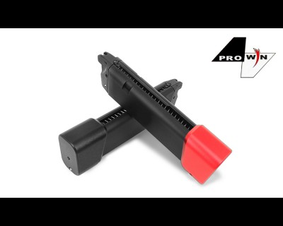 ProWin CNC 36rd STD 9mm 17RD+6RD Magazine for Marui G-Series GBB (Black / Red Base)